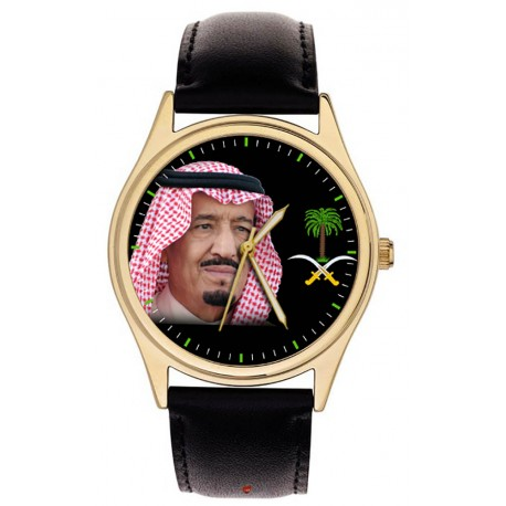 The 7 Kings of Saudi Arabia. Collectible Portrait Art Wrist Watch Set in Leather Display Case.