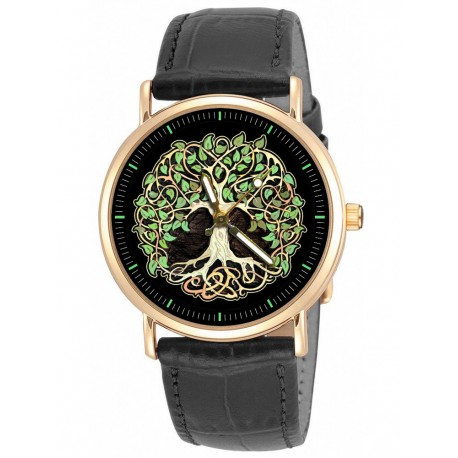 BEAUTIFUL TREE OF LIFE IRISH GREEN CELTIC ART WRIST WATCH IN SOLID BRASS UNISEX