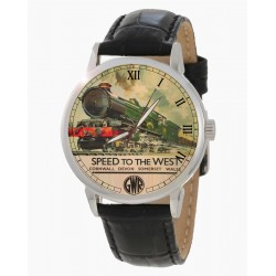 GWR Cornwall Express Vintage Railroad Steam Engine Poster Art Collectible Wrist Watch