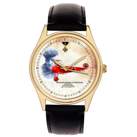 The Red Baron. Manfred von Richtofen Fokker Triplane WW-I German Art Collectible Wrist Watch