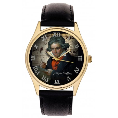 LUDWIG VON BEETHOVEN SYMPHONY ART BEAUTIFUL SOLID BRASS MUSIC LOVER WRIST WATCH