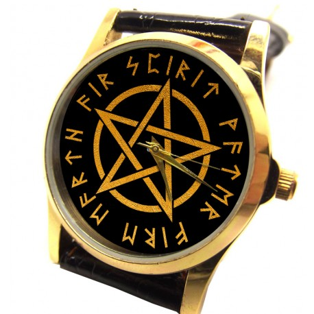 RARE WICCAN WITCH PENTAGRAM COLLECTIBLE MYSTIC SYMBOLISM LADIES WRIST WATCH