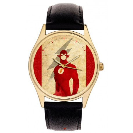 The Flash (Barry Allen) Classic Superhero Comic Art Flame Red Collectible Wrist Watch