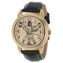 The Vitruvian Banjo Player, Classic Leonardo Da Vinci Parchment Art Dial Original Art Wrist Watch