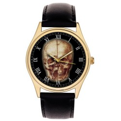 Leonardo Da Vinci Gothic Skull Art Medical Study Parchment Dial Collectible Wrist Watch