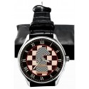Classic Chequered Chess Art Knight Large 40 mm Solid Brass Collectible Wristwatch