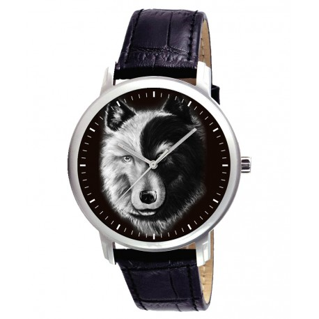Yin Yang Wolf Art Symbolic 40 mm Wrist Watch. For the Good & the Dark in Men!