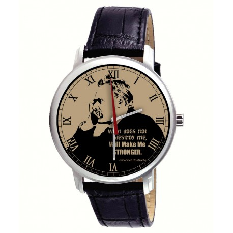 "Friedrich Nietzsche ""What Does Not Kill Me, Makes Me Stronger"" Collectible Philosophy Art Wrist Watch"
