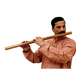 EXTREMELY RARE 8-HOLE INDIAN CHROMATIC CARNATIC BASS BAMBOO FLUTE. 28 inches. AWESOME SOUND