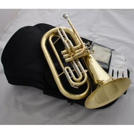 Marching Baritone Monel Valves Bb Keys Professional Gold Horn with Case