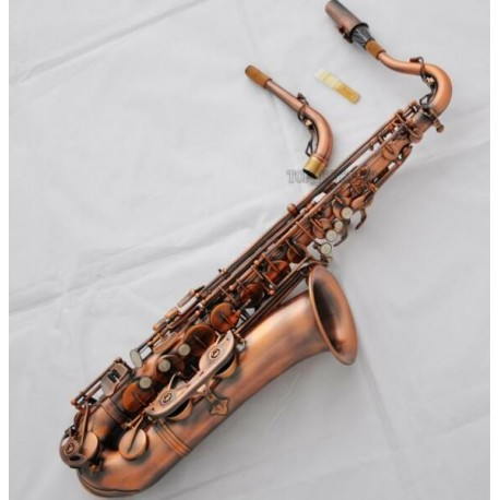C Melody Saxophone High F# Sax Straight in Red Antique Color + Curved Neck with Case