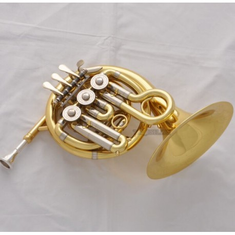 French Horn Bb Mini Piccolo Compact Pocket Horn with Case and Mouthpiece