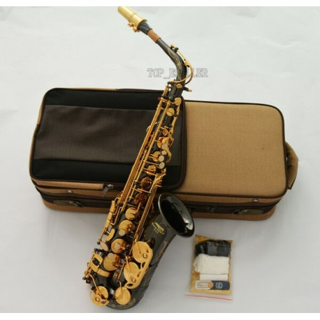 Alto Saxophone Black Nickel-Plated Pro Eb Sax With Case, Beautiful Engraved Bell