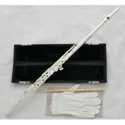 Open Hole Silver Flute Offset G Key B foot Split E With Case Professional Series. 17 holes