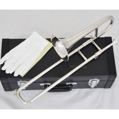 Slide Trumpet Bb Key Soprano Trombone Horn Quality Silver Nickel with Case