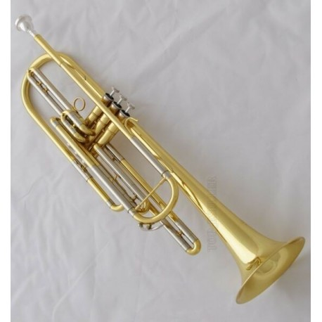 Professional Gold Bass Trumpet horn 3 Piston Bb Key With Case Free ship