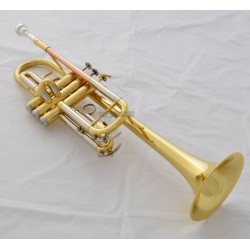 Gold Lacquer C Key Trumpet Horn Monel Valves Cupronickel Tuning Pipe With Case