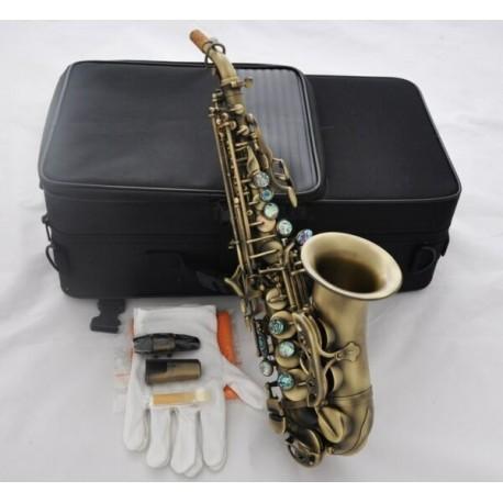 High Grade Antique Curved Soprano Sax Bb Saxophone Ablone shell Keys High F New