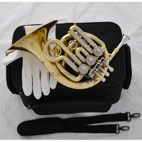 Gold Mini French Horn Cupronickel Tuning Pipe Bb Pocket horn Engraving Bell