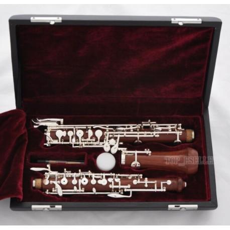 Professional Grenadilla Rose Wooden Oboe Silver Plating C Key Leather Case