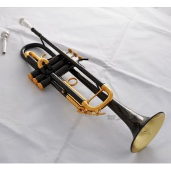 Black Nickel Gold Bell Bb Trumpet horn Engraving Bell 2 Mouthpiece W/Case