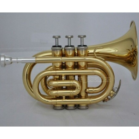 Gold Pocket Trumpet Bb Horn Large bell With Case