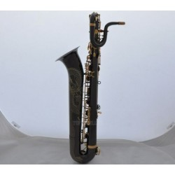 Professional Dragon Engraving Baritone Saxophone Black Nickel sax With Case