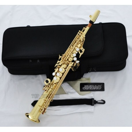 Professional Gold Straight Sopranino Saxophone sax Eb Low Bb high F With Case