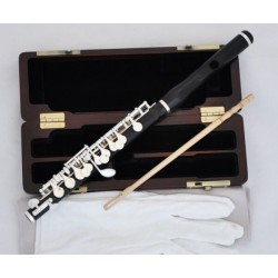 Professional Ebony Wooden Piccolo Flute Silver Plated C Key Split E Wood Case