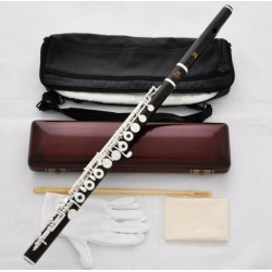 Professional Grenadilla Ebony Wooden Silver Flute C Foot 16 Open Holes Wood Case
