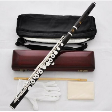 Professional Grenadilla Ebony Wooden Silver Flute C Foot 16 Open Holes Wood Case