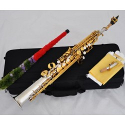 Top Silver Nickel Gold Soprano Saxophone sax High F#, G 2 Necks With Case