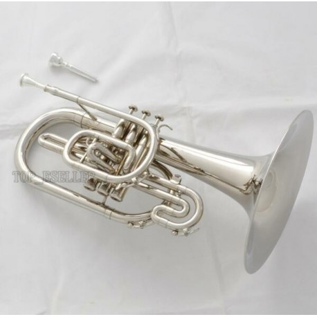 Marching Mellophone F Key Silver Nickel Finish Professional With Case