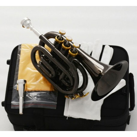 Top Quality Black Nickel Gold Pocket Trumpet B# horn Large bell 2 Mouthpiece
