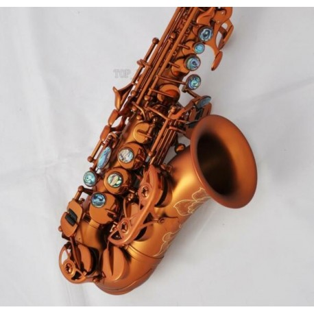 Curved Soprano Saxophone Bb sax Abalone Key Engraved Bell. Ultra Professional Matte Coffee
