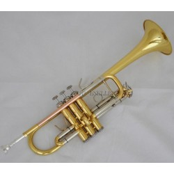 Gold C Key Trumpet with Cupronickel Tuning pipe horn With Case