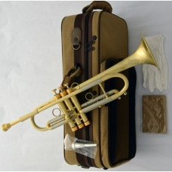 Professional Brushed Brass Trumpet B-Flat Horn Monel 5.25'' Bell