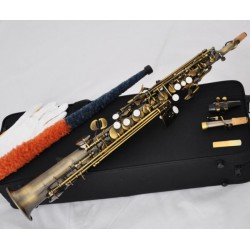Pro Quality Antique Straight Soprano Saxophone Sax High F#, G. 2 Necks With Case