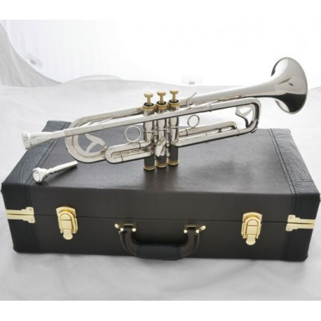 Professional Silver Nickel Trumpet Monel Valves Bb Horn 2 Mouthpiece Case