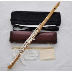 Professional Wooden Flute Boxwood Material 17 Hole Silver key B Foot Case