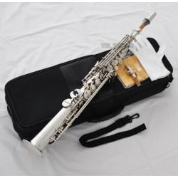 Top Silver nickel Straight Soprano Saxophone Bb sax High F# G Key 2 Necks new
