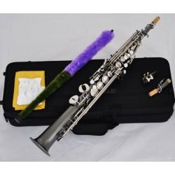 Top Black Nickel Silver Straight Soprano Saxophone Bb sax High F#, G keys 2 necks