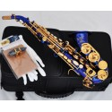 Top New Blue Gold Curved Soprano Sax Saxophone Bb key High F With Case