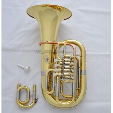 Professional C/Bb Keys 4 Rotary Valve Euphonium Gold Horn 11.6'' Bell With Case
