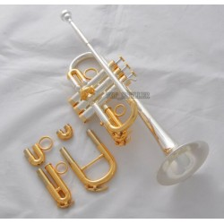 Superbrass Professional Silver/Gold Plated Eb/D Trumpet horn Monel Valve With Case