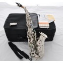 Nickel Silver Curved Soprano Saxophone Bb Sax High F# Abalone Keys + 10 pc Reeds