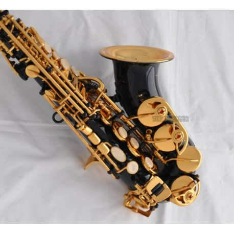 High Grade Black gold Curved Soprano Saxophone Gold bell Sax High F# with case