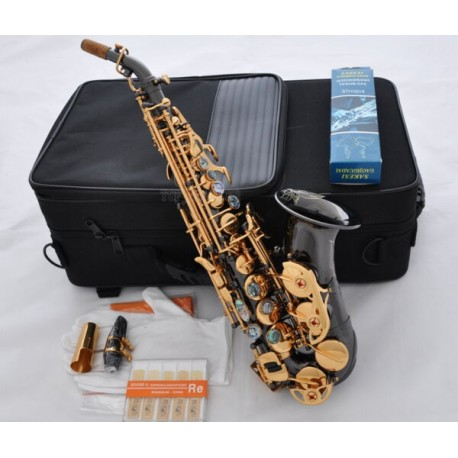 Professional Black Nickel Curved Soprano Sax Saxophone Ablone Key High F W/Case 10x Reed
