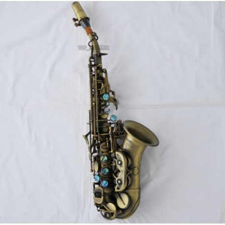 Professional Antique Bronze Curved Soprano Saxophone Sax High F# With Case