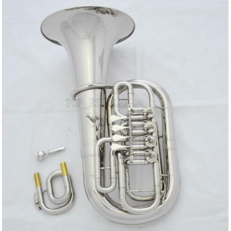 Professional Silver nickel Euphonium C/Bb Key Smoothly 4 Rotary Valve Case